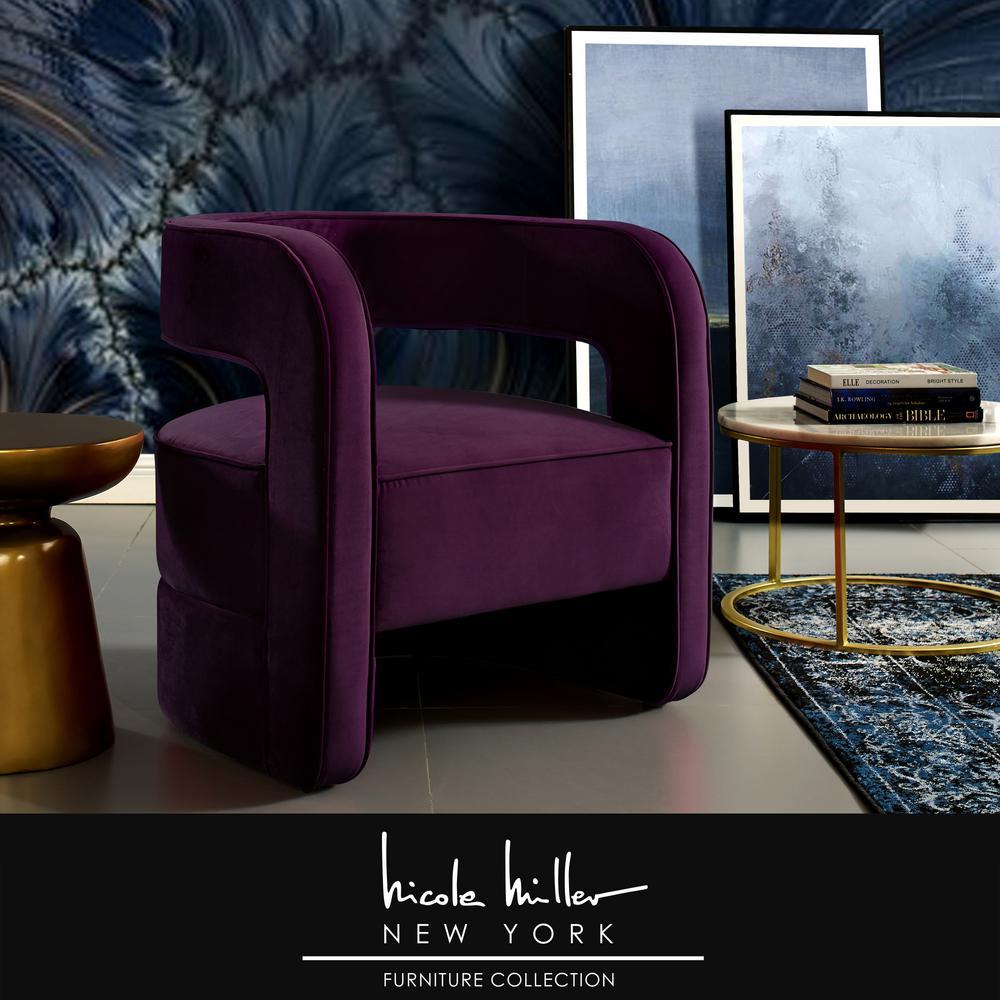 Pleasant Nicole Miller Otis Purple Velvet Accent Chair With Uwap Interior Chair Design Uwaporg