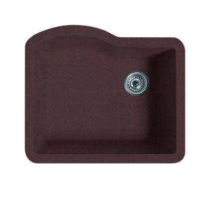 Undermount Granite 24 in. 0-Hole Single Bowl Kitchen Sink in Espresso