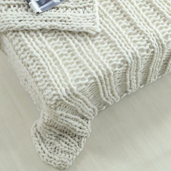 Unbranded - Vielkis 50 in. x 70 in. Cream White Throw Cozy 100% Polyester