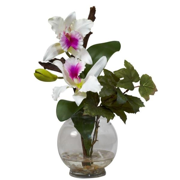 14.5 in. H White Mini Cattleya with Fluted Vase Silk Flower