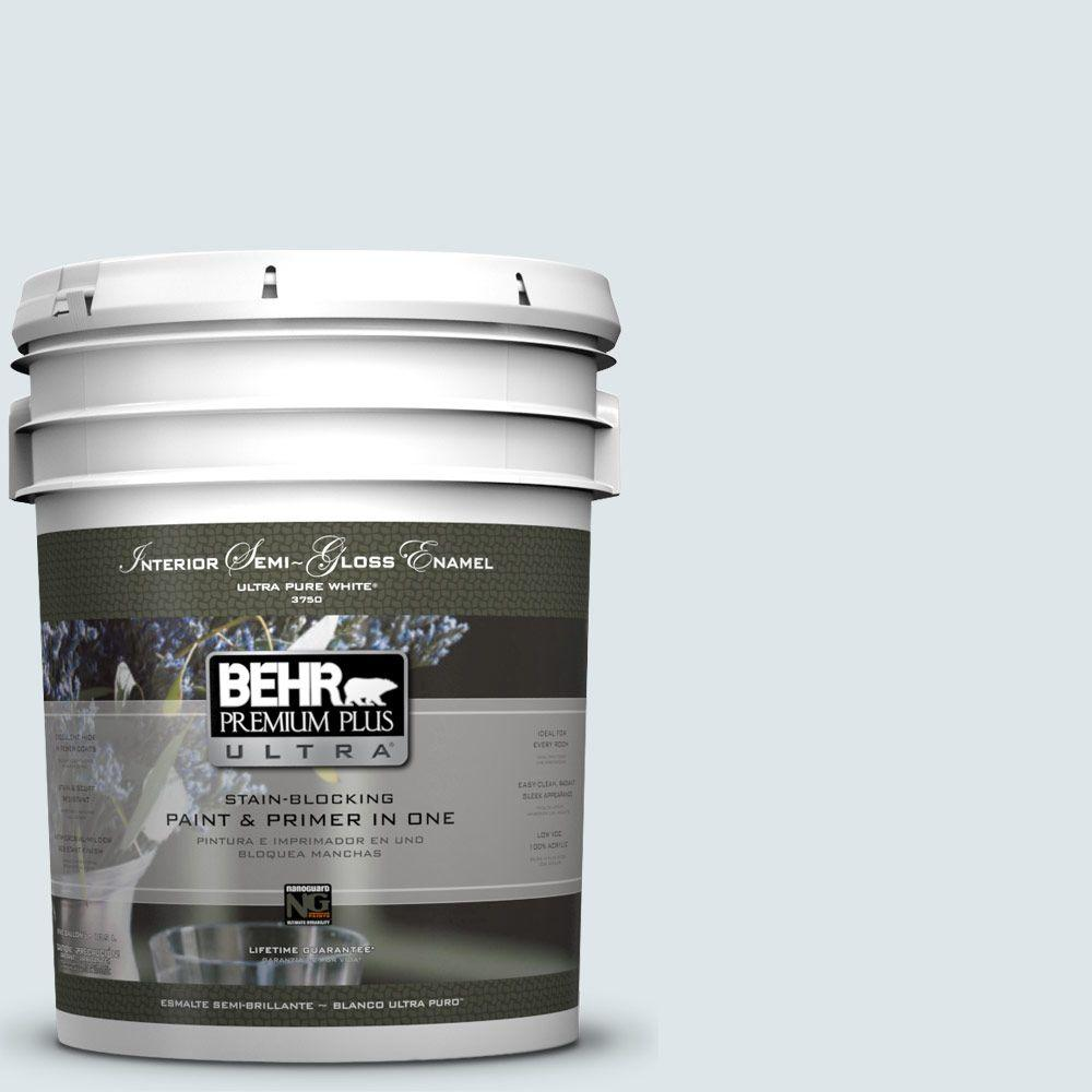 5-gal. #BL-W3 Blue Bird Day Semi-Gloss Enamel Interior Paint