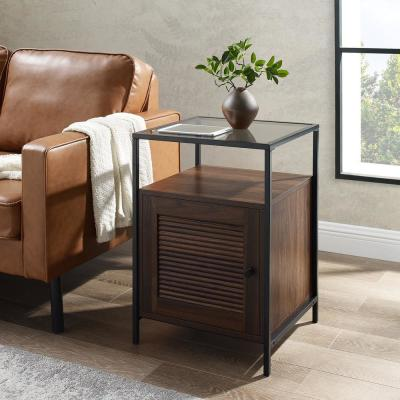 "18"" Fluted Door End Table - Dark Walnut"