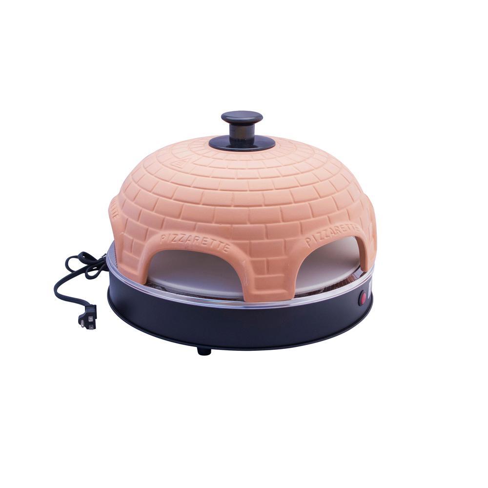 Pizzarette 6 Person Countertop Mini Pizza Oven with True Cooking Stone and Real Terracotta Dome