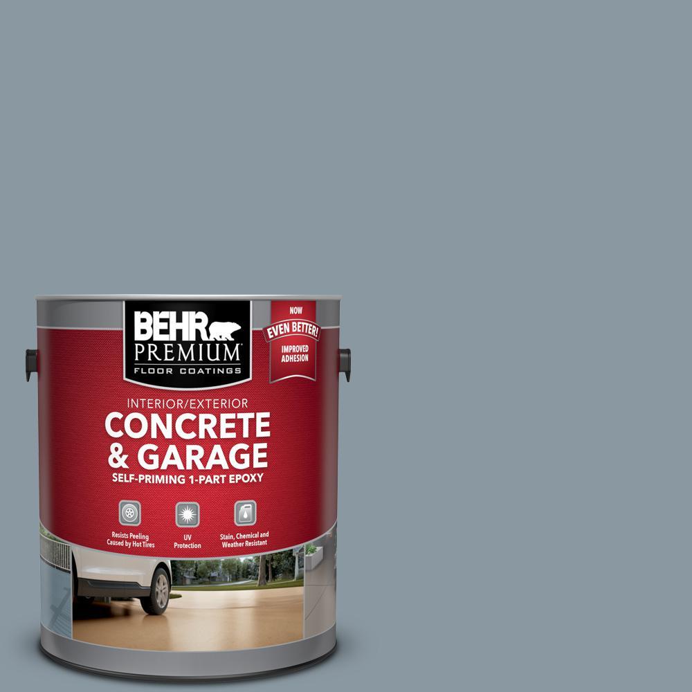 1 gal. #N490-4 Teton Blue Self-Priming 1-Part Epoxy Satin Interior/Exterior Concrete and Garage Floor Paint