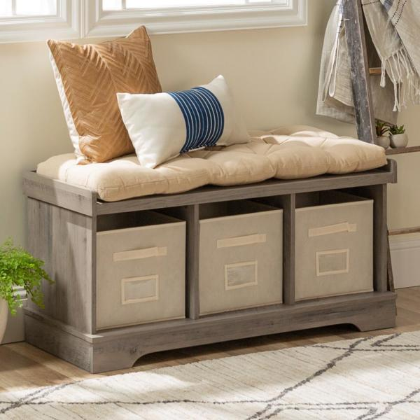 Walker Edison Furniture Company 42 Modern Farmhouse Entryway Storage Bench Grey Wash Hd42stcgw The Home Depot,Attractive Paint Color For Small Bedroom Walls