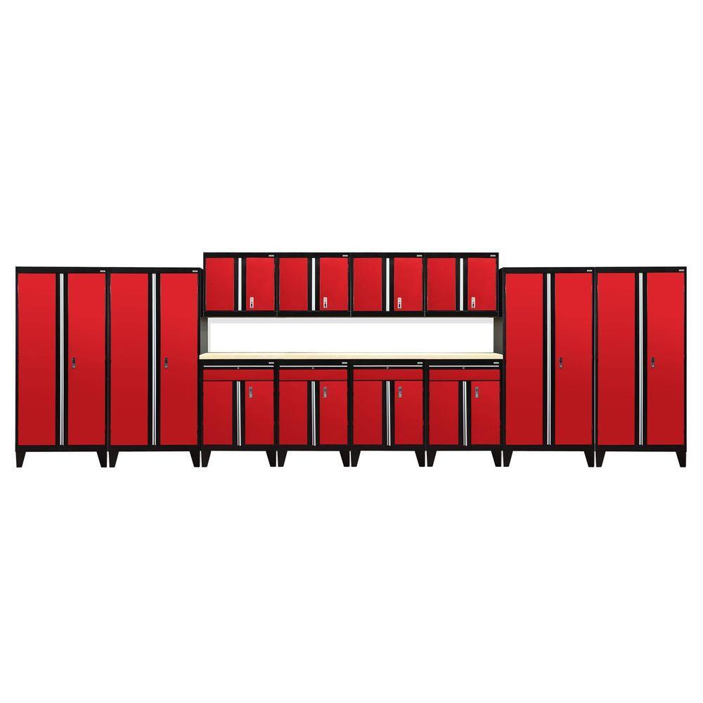 79 in. H x 264 in. W x 18 in. D Modular Garage Welded Steel Cabinet Set in Black/Red (14-Piece)