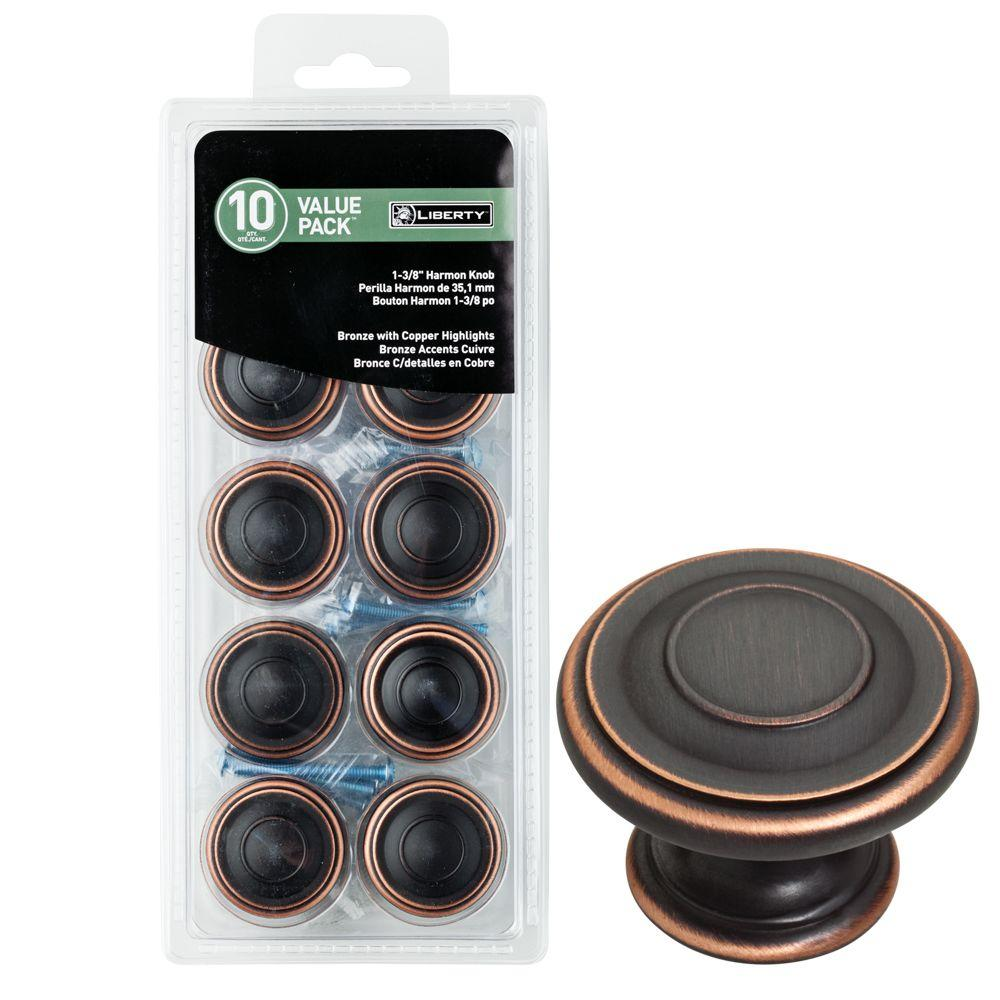 Liberty 1-3/8 in. Venetian Bronze with Copper Highlights Harmon Cabinet Knob (10-Pack)