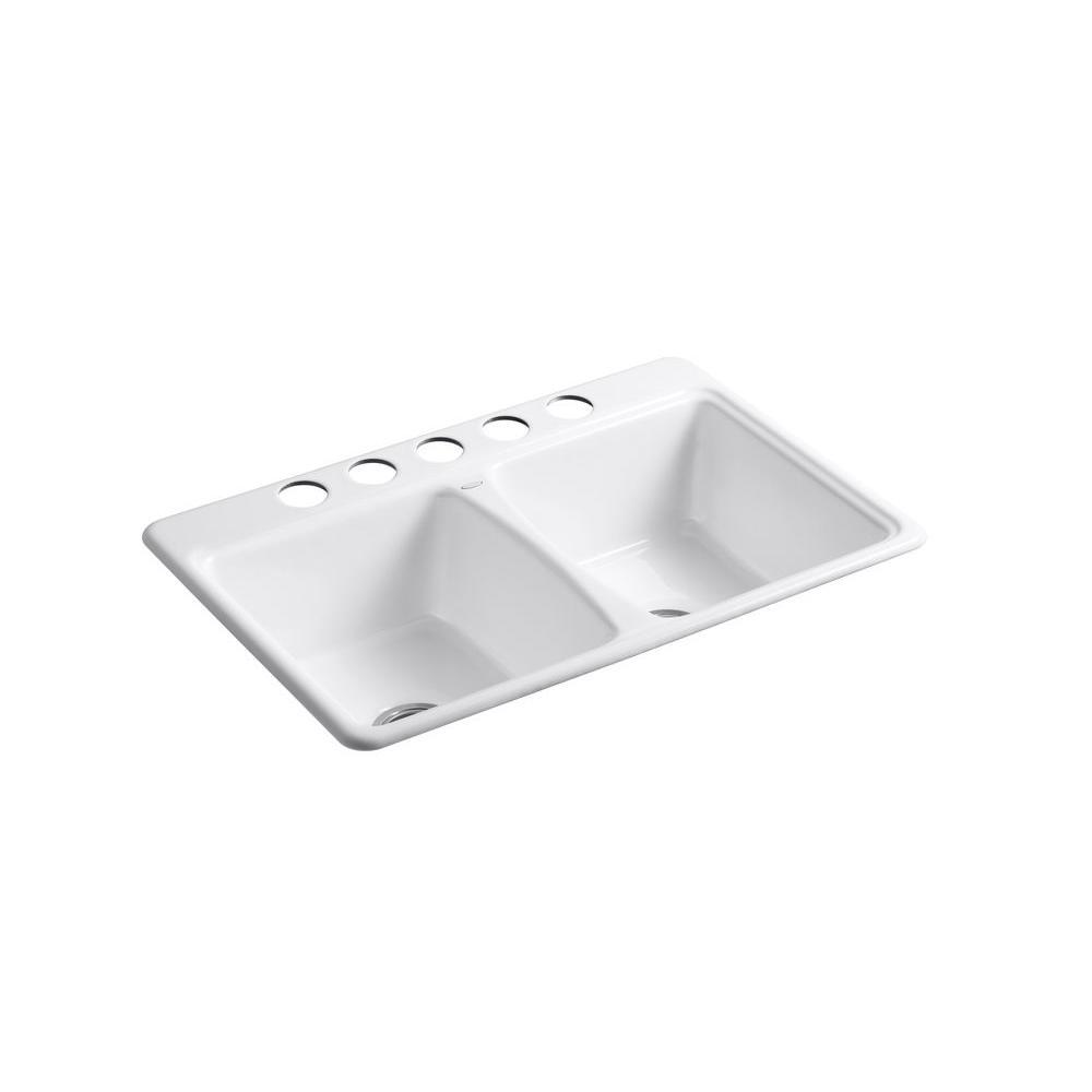 KOHLER Deerfield Self-Rimming Cast Iron 33x22x8.625 5-Hole Kitchen Sink in White