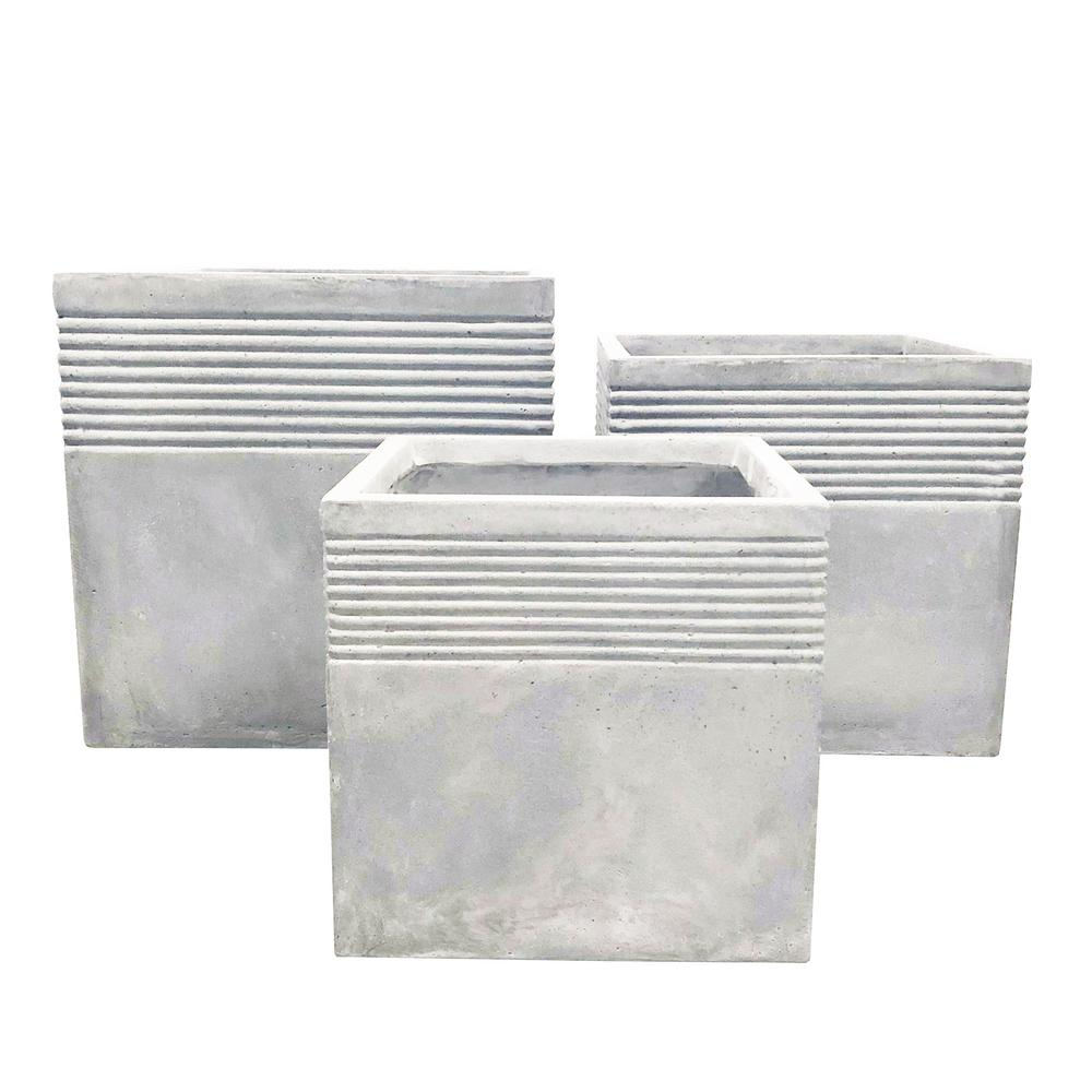 Lightweight Light Grey Concrete Square Stripped Planter (3-Set)