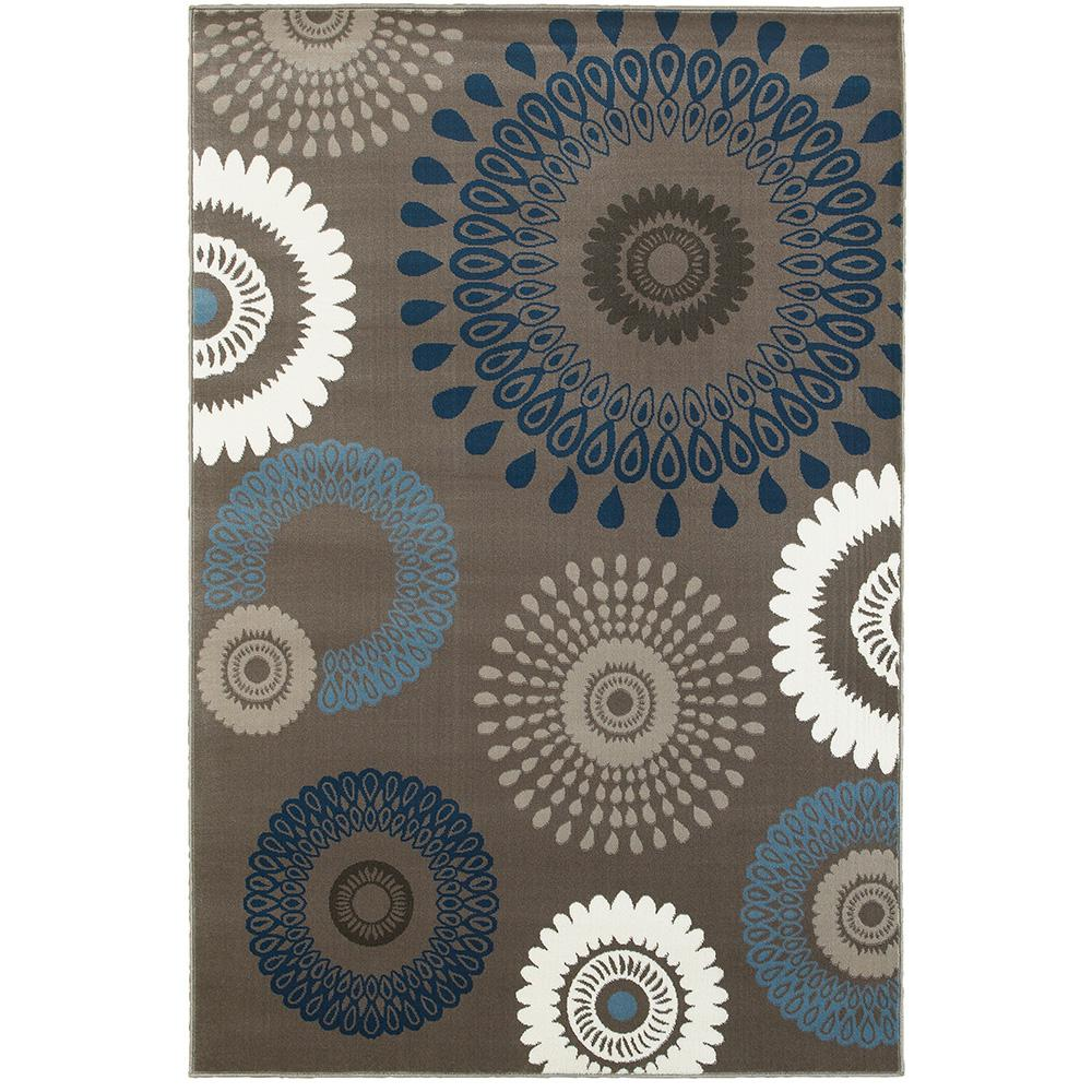 Adana Charcoal and Blue 7 ft. 9 in. x 9 ft.