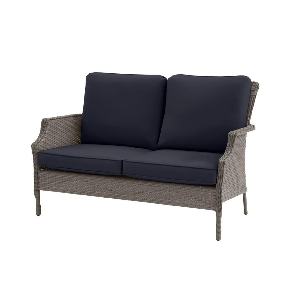 Grayson Ash Gray Wicker Outdoor Patio Loveseat with CushionGuard Midnight Navy Blue Cushions