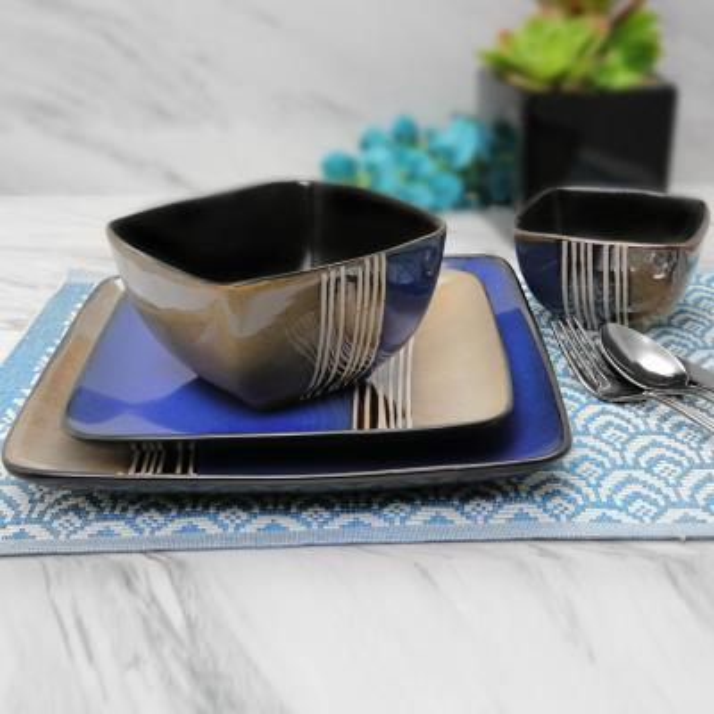 Uptown Loft 16-Piece Blue Double Bowl Dinnerware Set