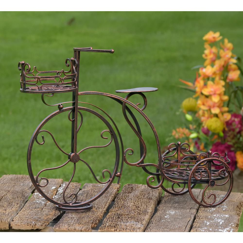 Antique Bronze Tricycle Planter With 2 Stands