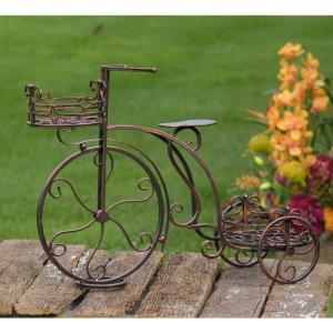 Zaer Ltd. International Antique Bronze Tricycle Planter with 2-Stands from Trikes & Pedal Cars
