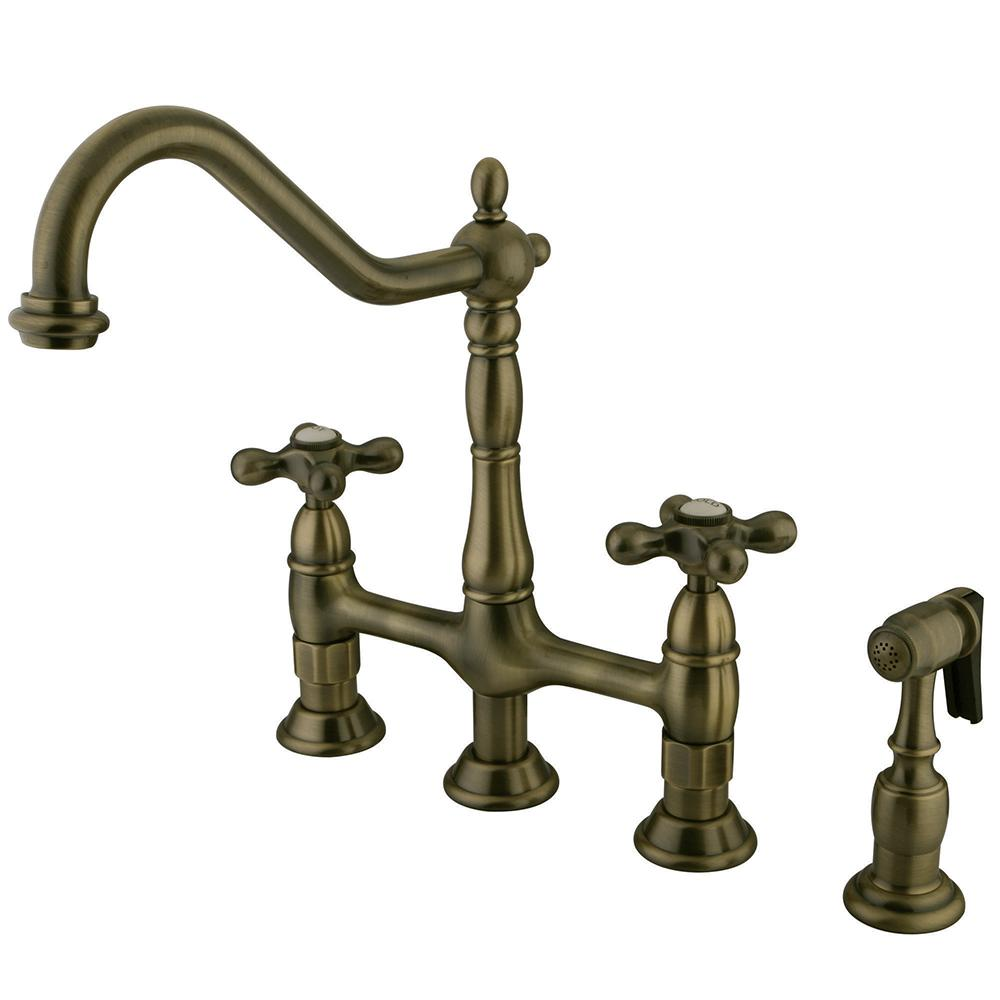 victorian style kitchen faucets kingston brass victorian lever 2 handle bridge kitchen faucet with side sprayer in vintage brass 2783