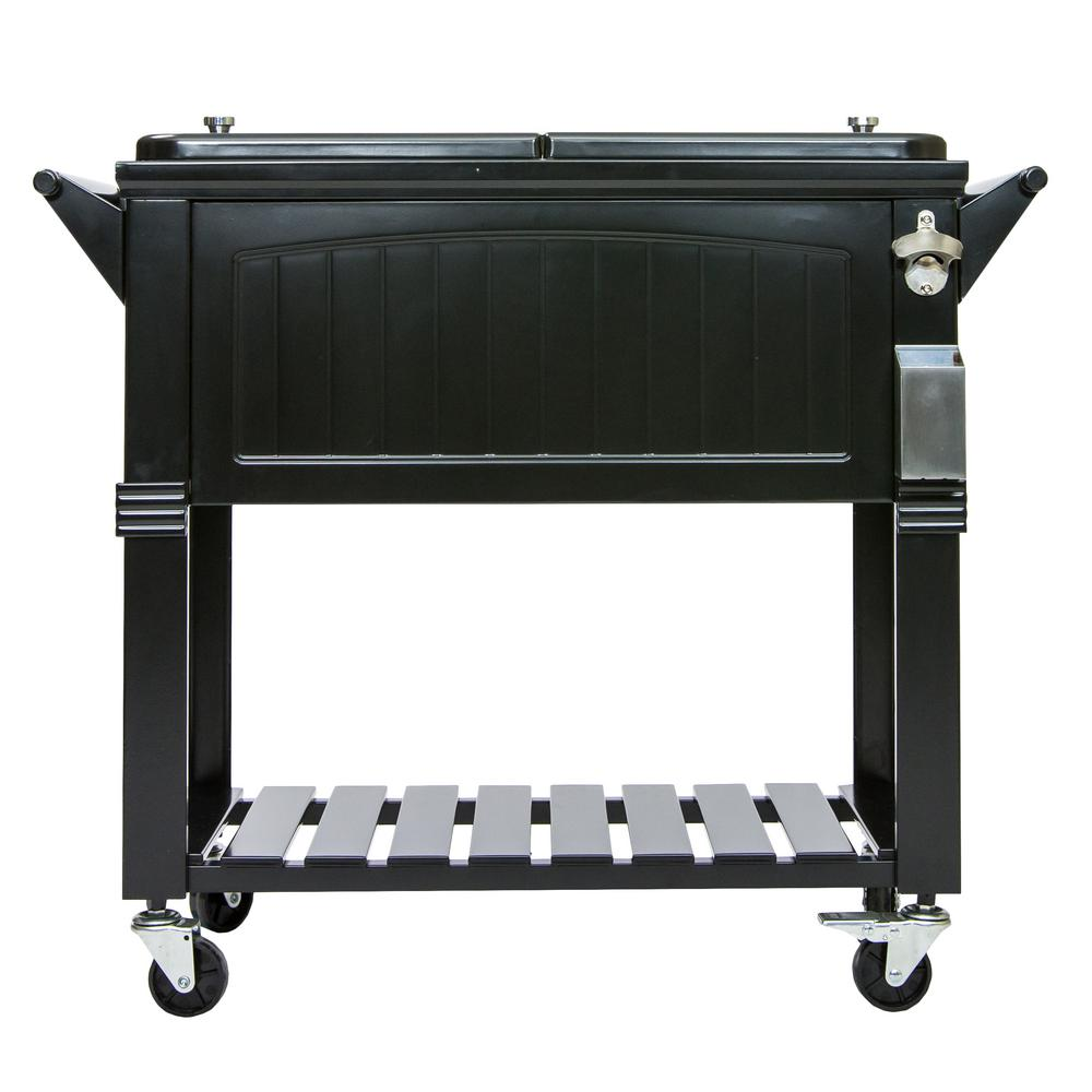 80 qt black antique furniture style rolling patio cooler
