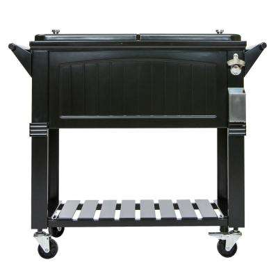 80 Qt. Black Antique Furniture Style Rolling Patio Cooler