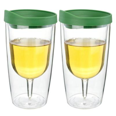 2-Piece Verde Green 10 oz. Double Wall Acrylic Insulated Wine Tumbler Set