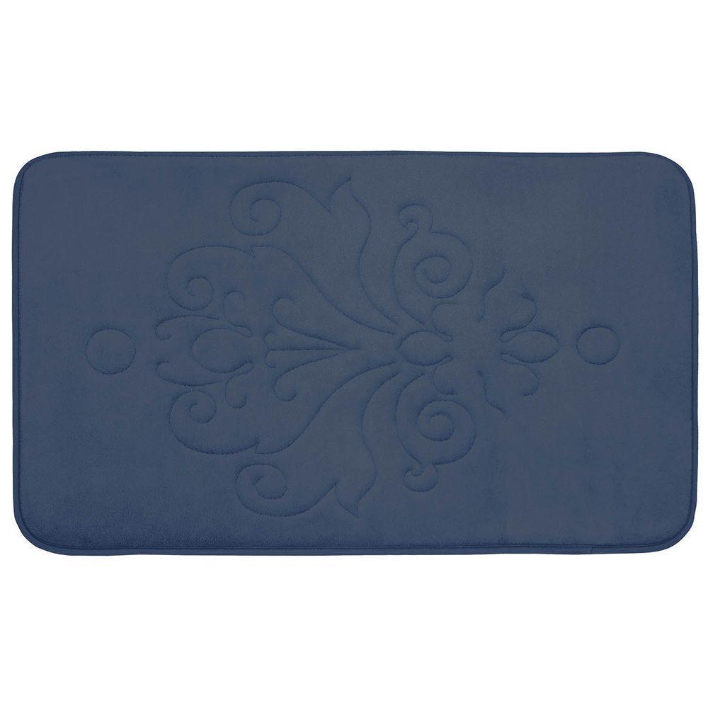 BounceComfort Reve Dusty Blue 20 in. x 32 in. Memory Foam Bath Mat