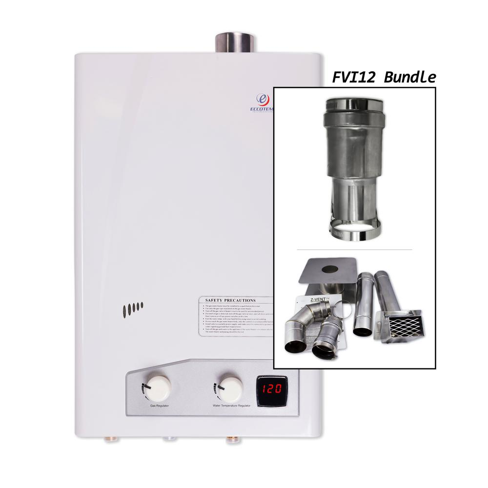 null eccotemp fvi12lp indoor liquid propane tankless water heater with horizontal vent kit
