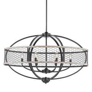 Roost 6-Light Matte Black Linear Pendant