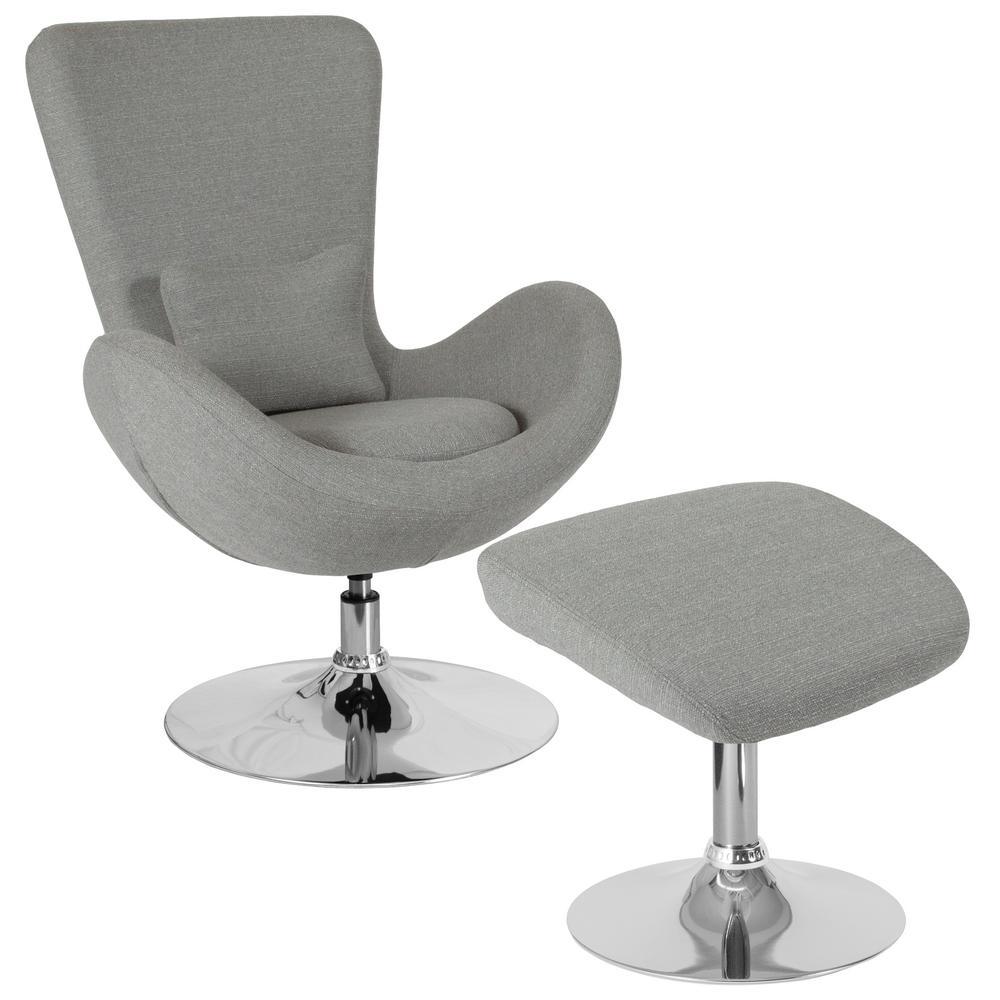 Light Gray Fabric Chair and Ottoman Set