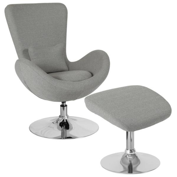 Swell Light Gray Fabric Chair And Ottoman Set Onthecornerstone Fun Painted Chair Ideas Images Onthecornerstoneorg