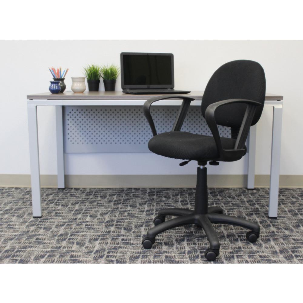 HomePro Loop Arm Task Chair. Black Tweed Fabric Pnuematic lift.