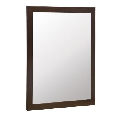 Kinghurst 29 in. W x 35 in. H Single Framed Vanity Mirror in Dark Cognac