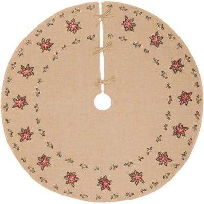 60 in. Jute Burlap Poinsettia Natural Tan Holiday Decor Tree Skirt