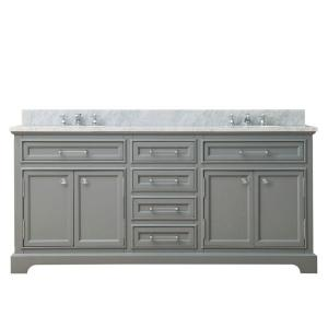 Water Creation 72 inch W x 21.5 inch D Vanity in Cashmere Grey with Marble Vanity Top in... by Water Creation