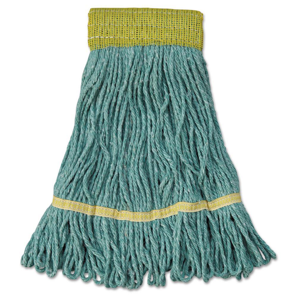 Mop Head, Super Loop Head, Cotton/Synthetic Fiber, Small, Green, 12/Carton