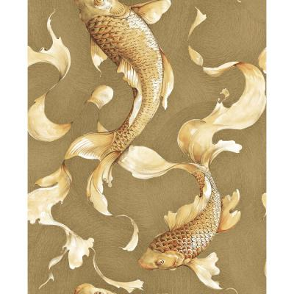 Metallic Gold and Toffee Koi Fish Wallpaper