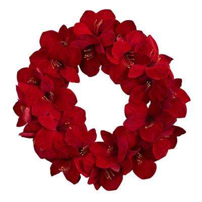 22 in. Amaryllis Artificial Wreath