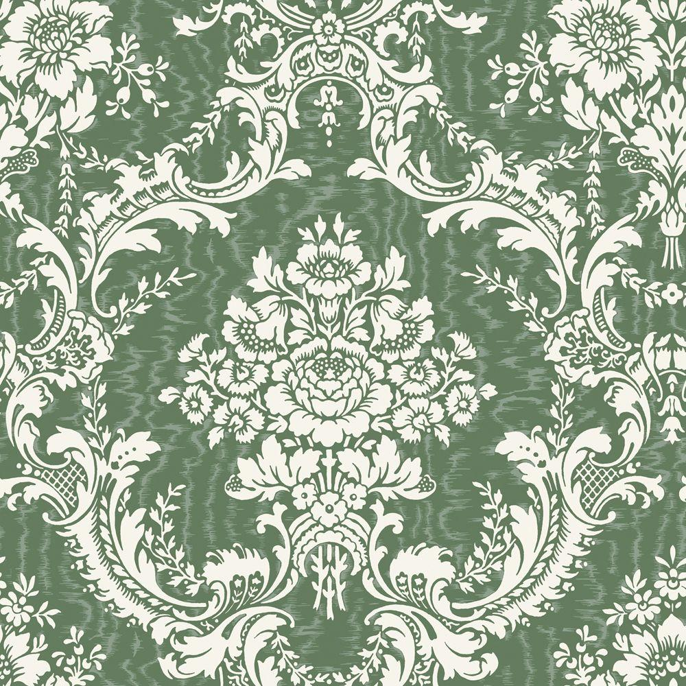 The Wallpaper Company 8 in. x 10 in. Green Mid Scale Damask on Moire Background Wallpaper Sample