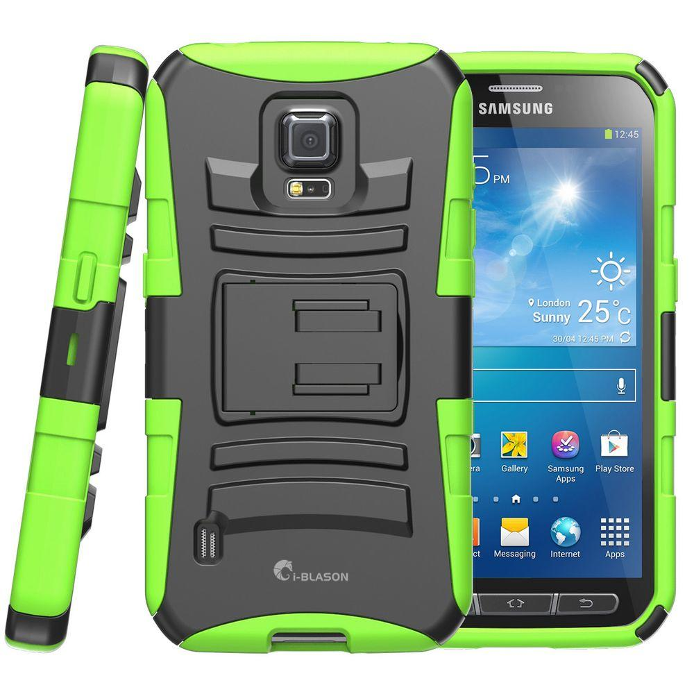i-Blason Galaxy S5 Active Prime Series Holster Case with Kickstand, Green