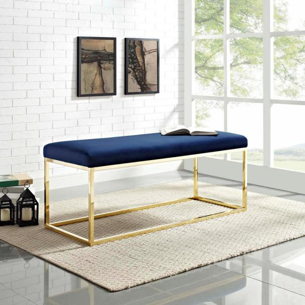 MODWAY Anticipate Fabric Bench in Gold Navy EEI-2851-GLD-NAV