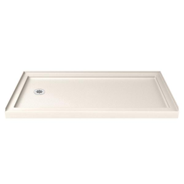 SlimLine 32 in. D x 60 in. W Single Threshold Shower Base in Biscuit with Left Hand Drain