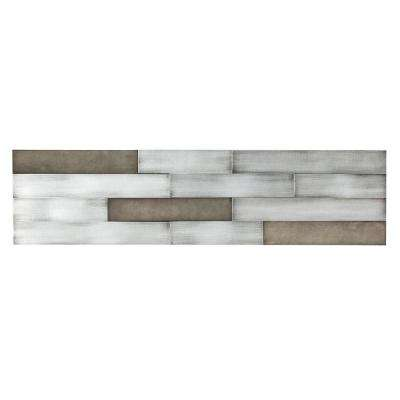 Distressed Peel and Stick 23.6 in. x 5.9 in. Metal Backsplash in Gilded Silver
