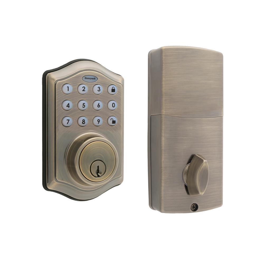 Electronic Keypad Antique Brass Single Cylinder Deadbolt Lock