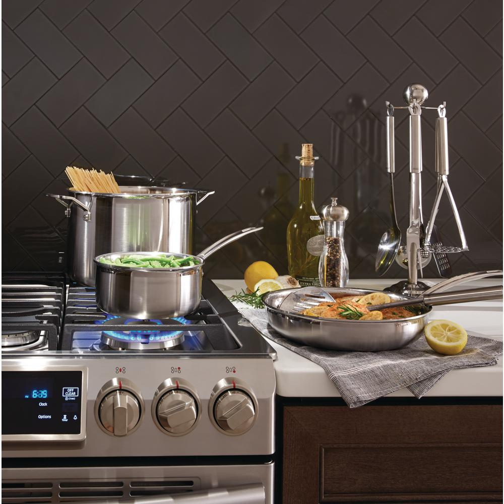 30-Inch Samsung NX58H9500WS Slide-In Stainless Steel Gas Range with 5 Sealed Burners
