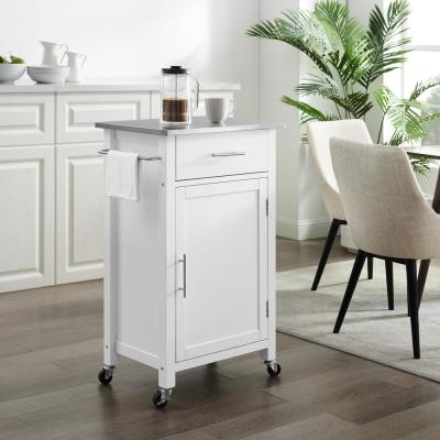 Savannah White with Stainless Steel Top Compact Kitchen Island