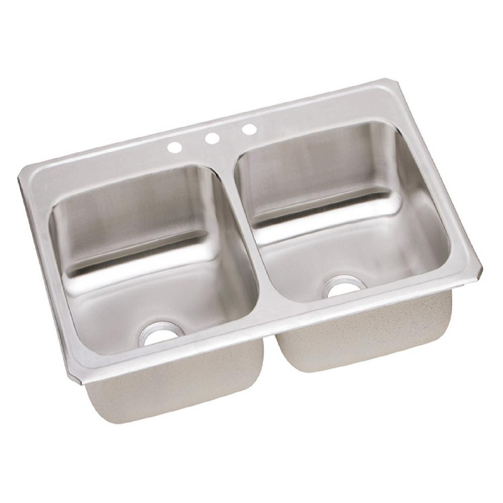 elkay celebrity drop in stainless steel 43 in  3 hole double bowl kitchen elkay celebrity drop in stainless steel 43 in  3 hole double bowl      rh   homedepot com