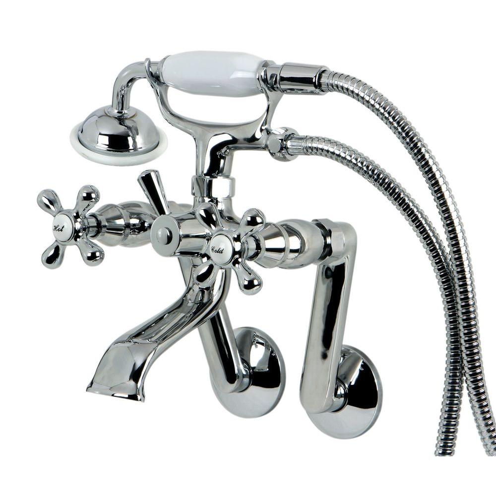 Kingston Brass Victorian 3-Handle Tub Wall Claw Foot Tub Faucet with ...