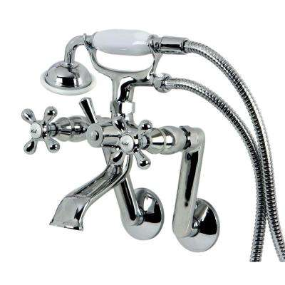 Victorian 3-Handle Tub Wall Claw Foot Tub Faucet with Hand Shower in Chrome