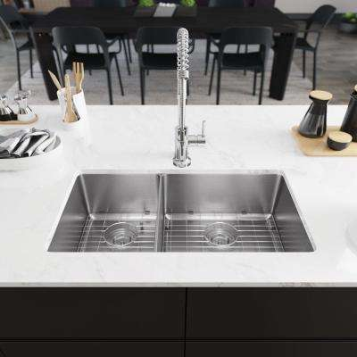 All-in-One Undermount Stainless Steel 31-1/8 in. 40/60 Double Bowl Kitchen Sink