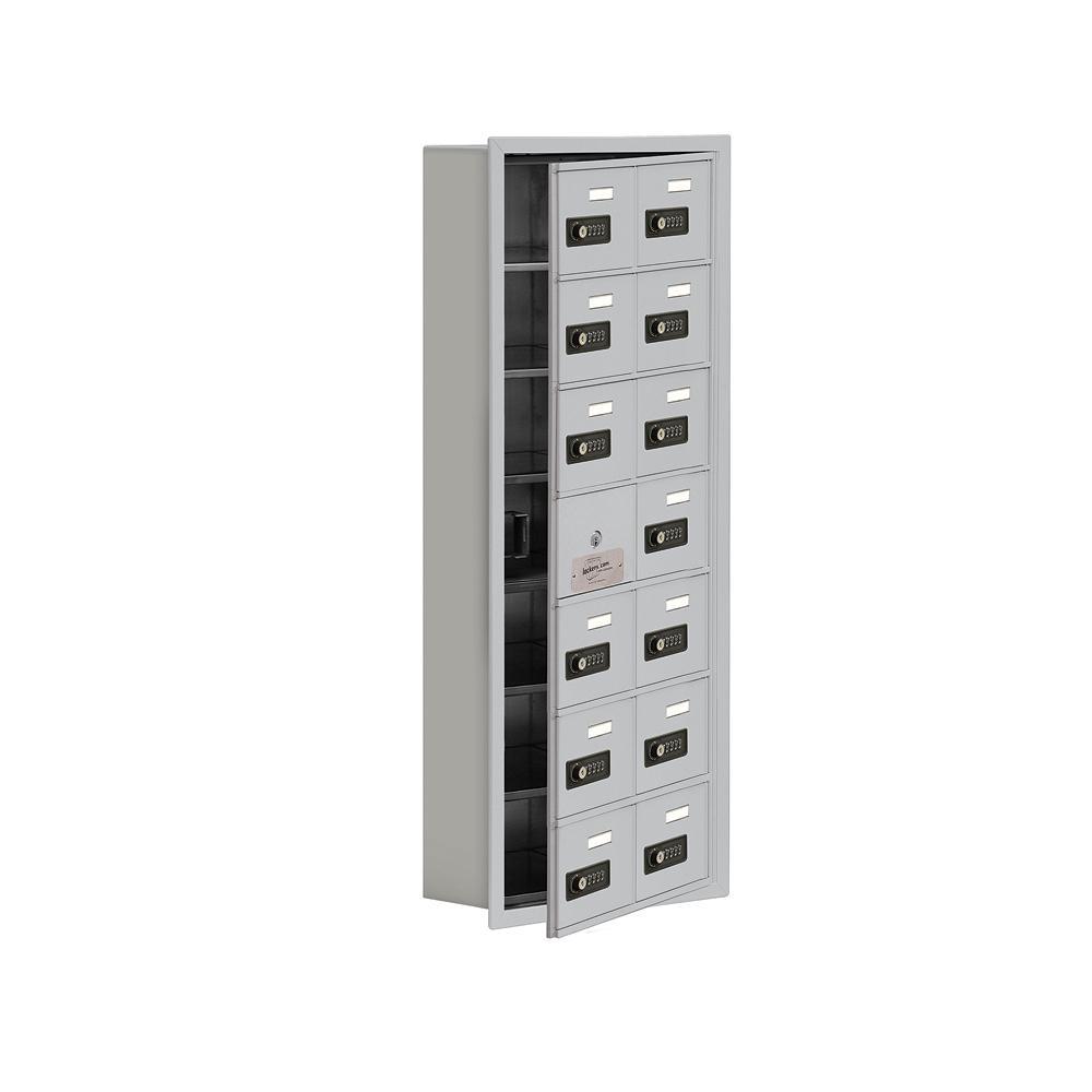 19100 Series 16.25 in. W x 40.75 in. H x 5.75 in. D 13 Doors Cell Phone Locker Recess Mount Resettable Lock in Aluminum