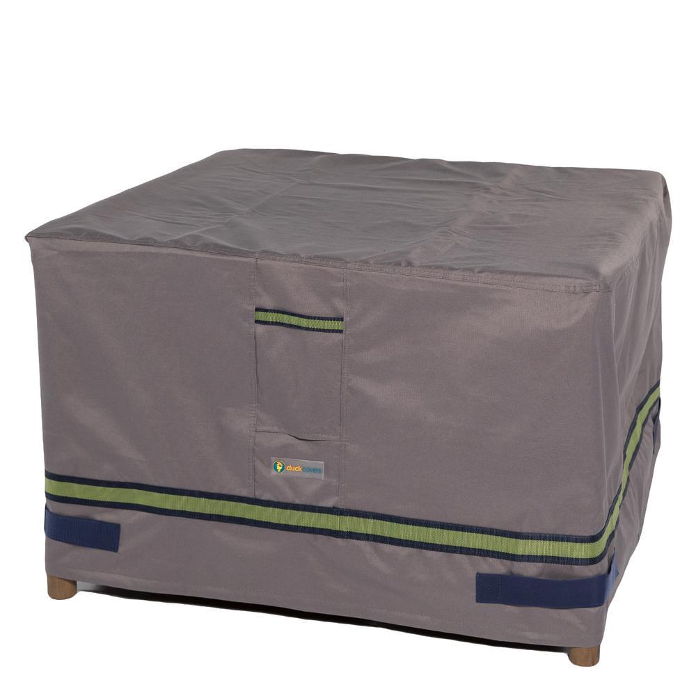Soteria 32 in. Grey Square Patio Ottoman/Side Table Cover