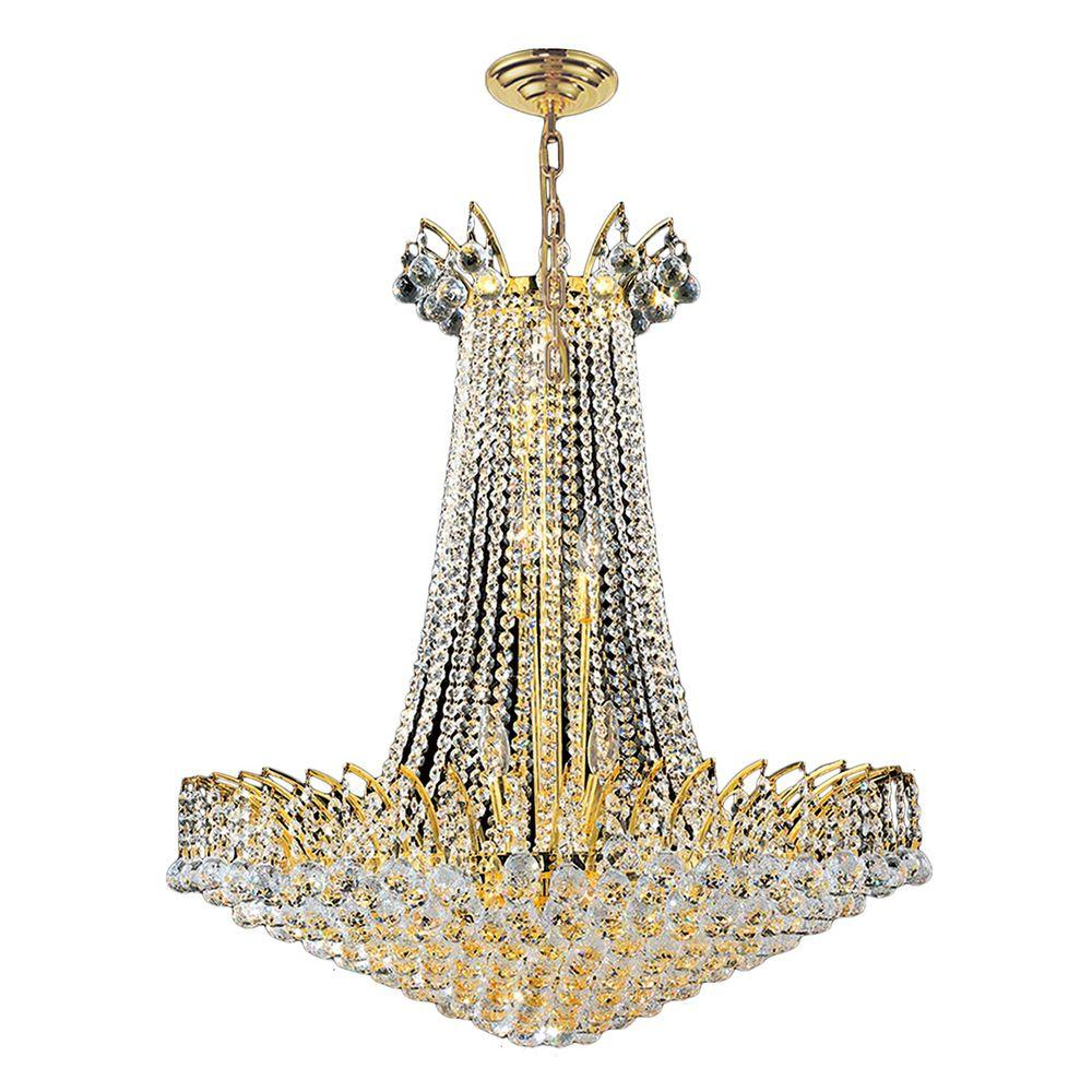 Worldwide Lighting Empire Collection 16-Light Polished Gold and Crystal Chandelier