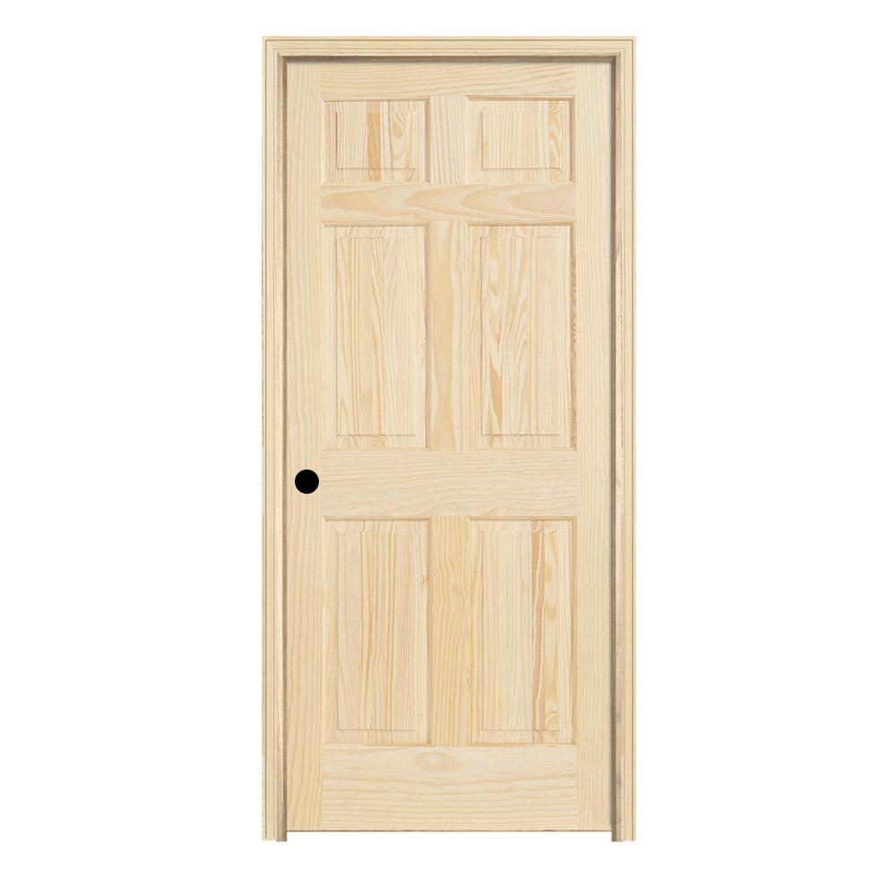 30 In X 78 Pine Unfinished Right Hand 6 Panel Wood Single Prehung Interior Door W Split Jamb